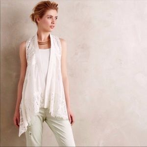 Meadow Rue White Ivory Lace Vest Draped XS S Top